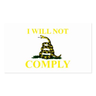 I Will Not Comply Business Card