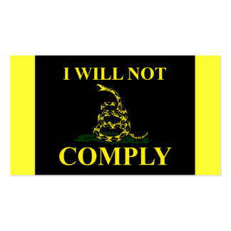 I Will Not Comply! Double-Sided Standard Business Cards (Pack Of 100)