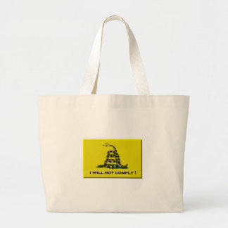 I will not comply large tote bag