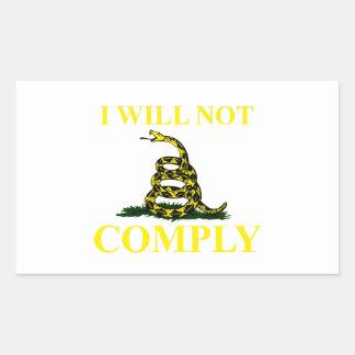 I Will Not Comply Rectangular Sticker