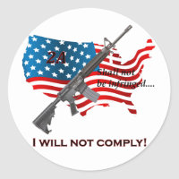 I Will Not Comply Right to Bear Arms AR15 Flag Classic Round Sticker