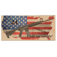 I Will Not Comply US Flag AR15 Customizable Wood Flash Drive