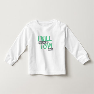 """""""I will not give up"""" positive green kids t-shirt"""