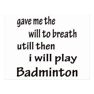 I will play Badminton. Postcard