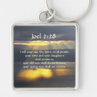 I will pour out My Spirit Joel 2 28, Bible Verse Keychain