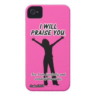 I Will Praise You - Psalm 139 14 Pink Silhouette Blackberry Bold Cover