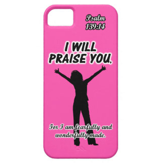 I Will Praise You - Psalm 139:14 Pink Silhouette iPhone SE/5/5s Case