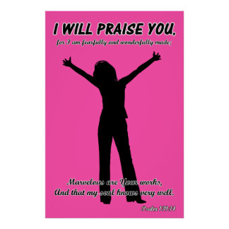 I Will Praise You - Psalm 139:14 Pink Silhouette Poster