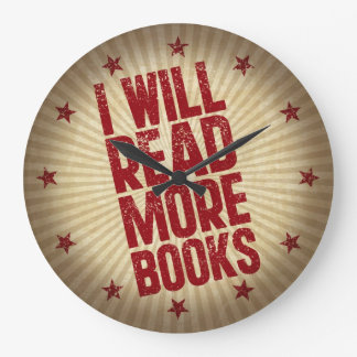 I Will Read More Books Large Clock