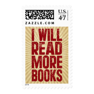 I Will Read More books Postage Stamp