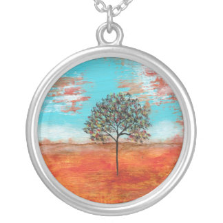 I Will Revere Round Pendant Necklace Painting Art