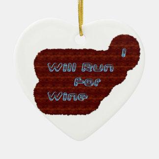 I Will Run For Wine Ceramic Ornament