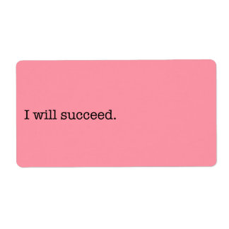 I Will Succeed Inspirational Success Quote Shipping Label