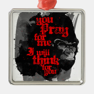I Will Think For You Square Metal Christmas Ornament