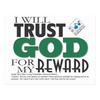 I will trust GOD for my reward Postcard