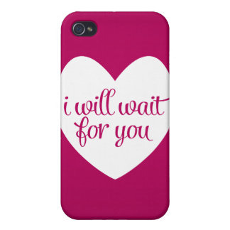 I Will Wait For You Pink Heart Case For iPhone 4