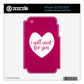 I Will Wait For You Pink Heart Skin For iPhone 3G