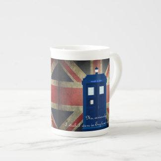 I wish I were in England Union Jack Blue Phone box Tea Cup