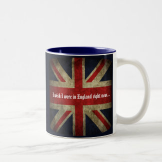 I wish I were in England Union Jack British Flag Mugs