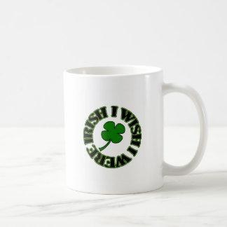 I Wish I Were Irish (black/green) Coffee Mugs