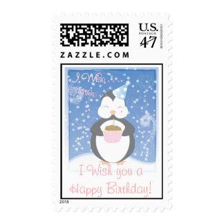 I Wish you a Happy Birthday! Baby Penguin Postage Stamp