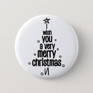 I Wish You A Very Merry Christmas Tree Pinback Button