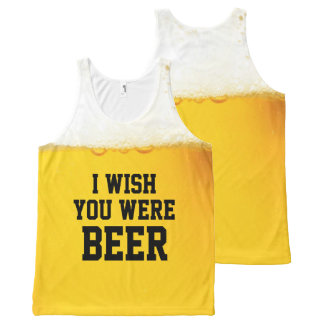 I Wish You Were Beer Funny Slogan All-Over-Print Tank Top