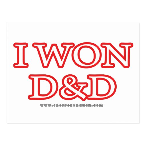I Won D&D Postcard