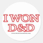 I Won D&D Round Stickers