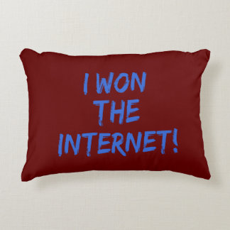 I Won the Internet - Red Background Accent Pillow