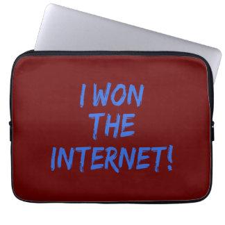 I Won the Internet - Red Background Laptop Sleeve