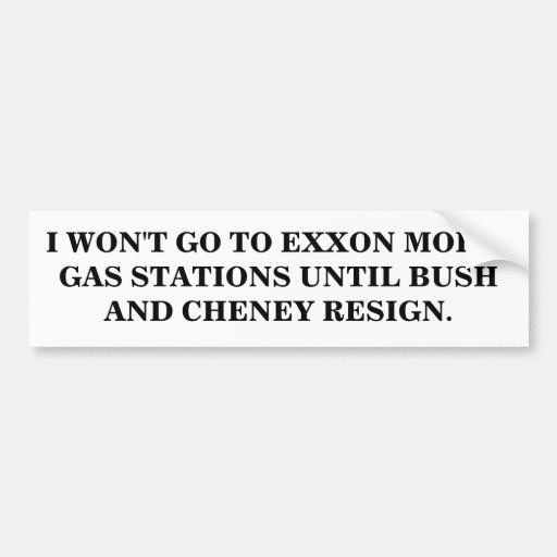 I WON'T GO TO EXXON MOBIL GAS STATIONS STICKER CAR BUMPER STICKER