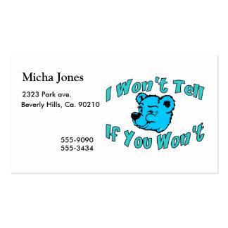 I Won't Tell Secret Bear Business Card