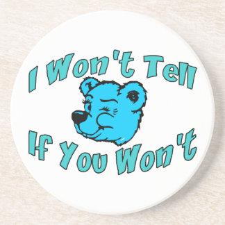 I Won't Tell Secret Bear Coaster