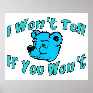 I Won't Tell Secret Bear Poster