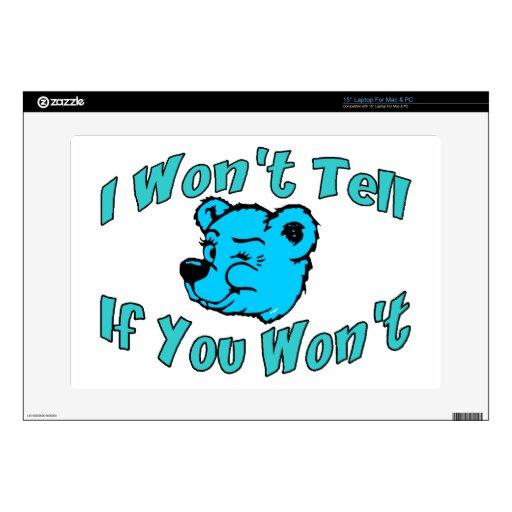 I Won't Tell Secret Bear Skin For Laptop