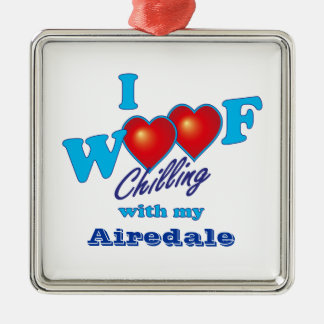 I Woof Airedale Terrier Square Metal Christmas Ornament