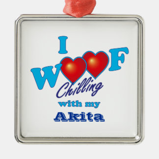 I Woof Akita Silver-Colored Square Decoration