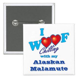 I Woof Alaskan Malamute 2 Inch Square Button
