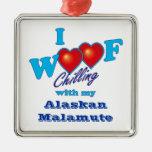 I Woof Alaskan Malamute Ornaments