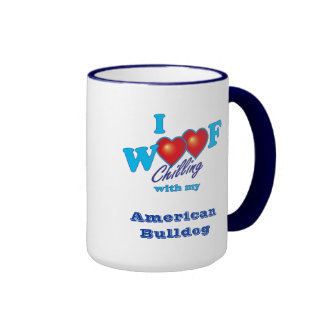 I Woof American Bulldog Ringer Mug