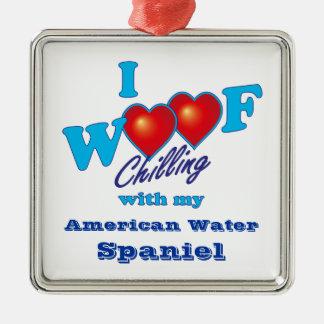 I Woof American Water Spaniel Metal Ornament
