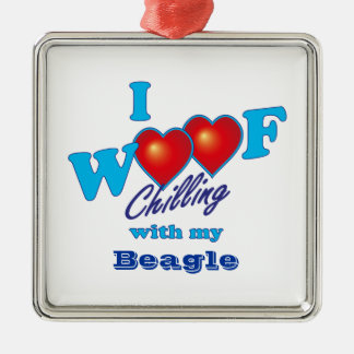 I Woof Beagle Square Metal Christmas Ornament