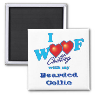 I Woof Bearded Collie 2 Inch Square Magnet
