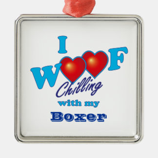 I Woof Boxer Square Metal Christmas Ornament