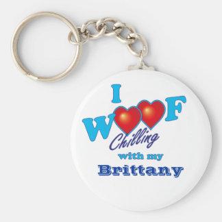 I Woof Brittany Basic Round Button Keychain