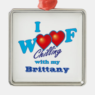 I Woof Brittany Square Metal Christmas Ornament