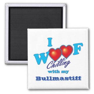 I Woof Bullmastiff 2 Inch Square Magnet