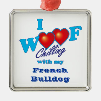 I Woof Chilling French Bulldog Christmas Tree Ornaments