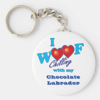 I Woof Chocolate Labrador Basic Round Button Keychain
